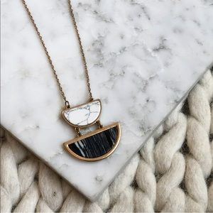 Gold Double Layered Marble Stone Necklace